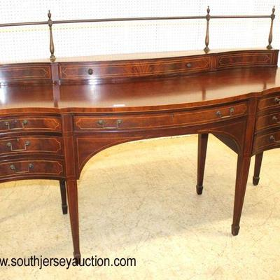 "Mahogany ""Baker Furniture"" 7 Drawer Bow Front Inlaid Taper Leg Sideboard with Gallery"