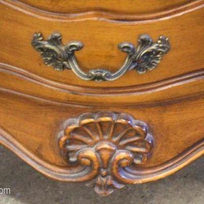 Mahogany Carved Country French Provincial High Chest and Low Chest