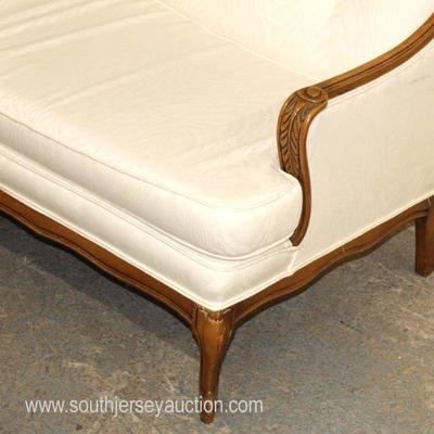 3 Part Mahogany Frame Carved Upholstered Button Tufted French Style Sectional Sofa