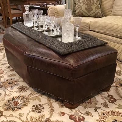 Century leather ottoman with storage