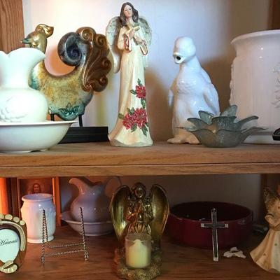 Huge collection of angels, crosses, rosaries, bibles, and Nativity