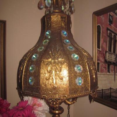 Amazing Vintage Jeweled Brass Filigree Hanging Lamp
