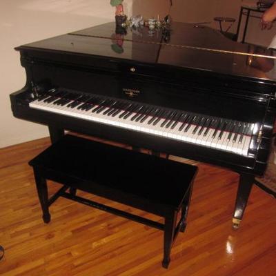 Hammond Black Lacquer Baby Grand Piano Refurbished