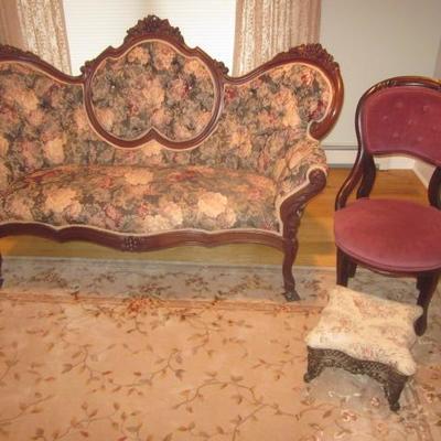 Original 1800's Victorian Newley Upholstered Living Room Suite