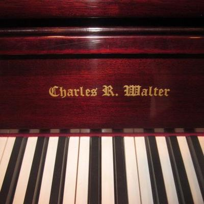 Charles R. Walter Cherry Wood Upright Piano