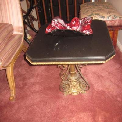 Pair Of Marble Top Tables With Brass Scrolled Base