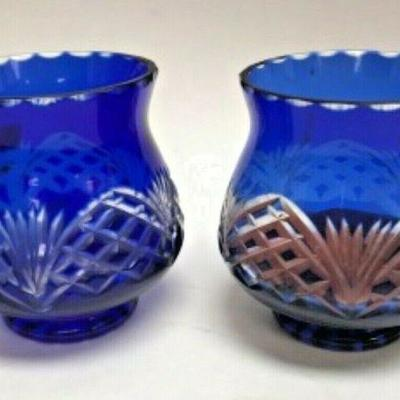 AH3012: TWIN BLUE GLASS VASE/ CANDLE VOLTIVE  https://www.ebay.com/itm/123983460785