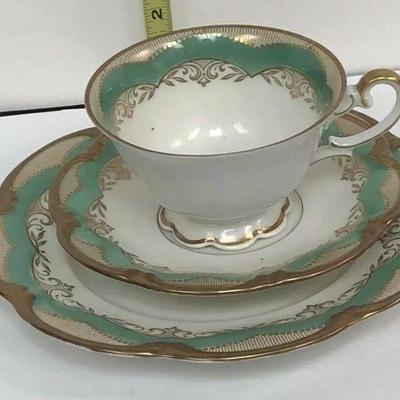 AH3009: Henseler Bavaria Cup and Saucer w/ Salad Plate Fine China Green  https://www.ebay.com/itm/113936589080