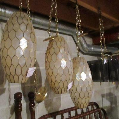 Trio of Capiz shell pendants