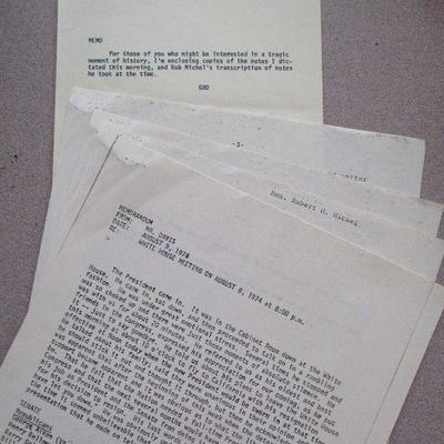 part of SPECIAL BID: 1st hand accounts of Nixon on the eve and morning of his Watergate Resignation