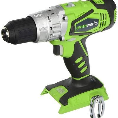 GreenWorks 24V Hammer Drill, 2 Speed, (2) 2.0 Ah B ...