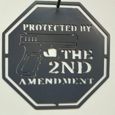Protected by the 2nd Amendment Grey Powder Coati ...