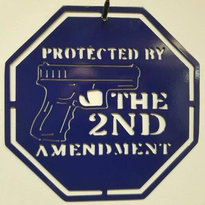 Protected by the 2nd Amendment Blue Powder Coati ...