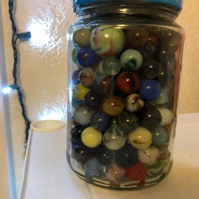 Jar of Assorted Vintage Marbles 2lbs-$40
