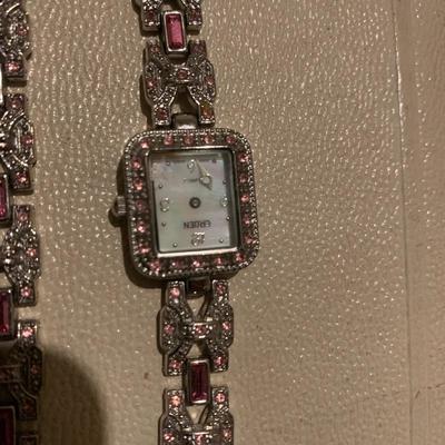 Pink Rhinestone 1950's Bracelet Gruen Watch, Watch for repair-  $10