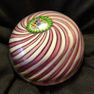"""Antique Very Rare Clichy """" Pink Carousel"""" Lamp work Paperweight-rare green Clichy rose in center. $300"""