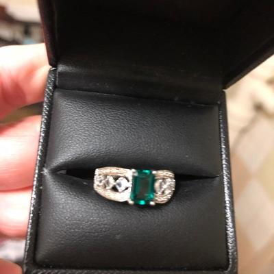 Genuine Emerald Cushion cut Ladies size 7 in Vintage style .925 setting-$30