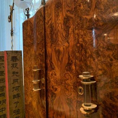 Art Deco Cabinet in Burl Wood with Marble Top