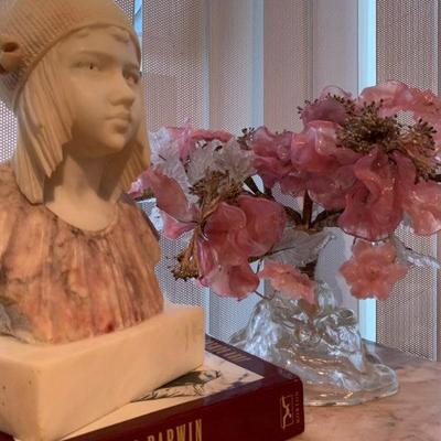 Art Deco Marble Bust of a Young Girl, Signed M. Pedrini, Rose Quartz Bonsai Tree