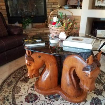 Hand Carved Horse Head Coffee Table