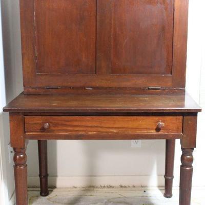 """Antique plantation desk, all hardwoods.  Front drops to create a desk top,  circa 1830-1850's  (25""""D x  36""""W x 58""""H at back)"""