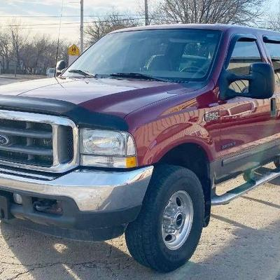 2002 Wine Red Ford F250 SUPER DUTY Crew Cab Lariat