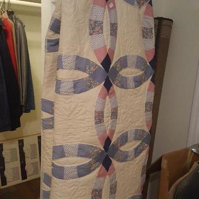 Hand stitched quilt.