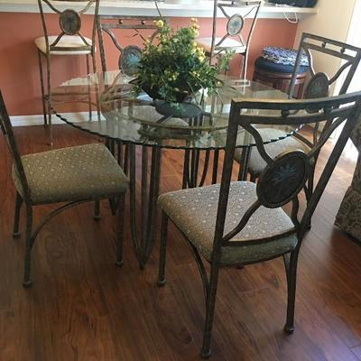 Glass topped table 4 chairs $350.00