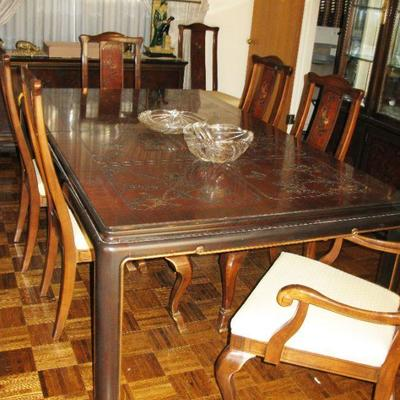DREXEL HERITAGE DINING ROOM TABLE, 8 CHAIRS AND 3 LEAVES      BUY IT NOW  $ 995.00