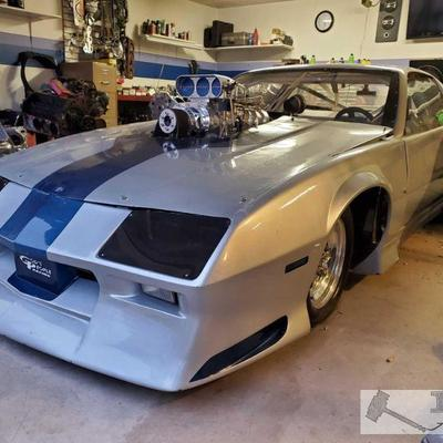 50: 1984 Chevy Camaro IROC Dragster with Engine and Trans BDS 14 Blower, Edelbrock Victor aluminum heads, windows are new/never raced,...