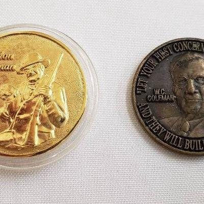 2 Brass Coleman Medallions - both are 1 1 2 in. di ...