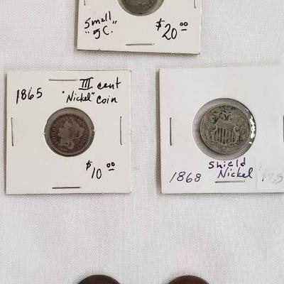 Lot of 1800s Coinage (1835 Half Dime, 1865 III Cen ...