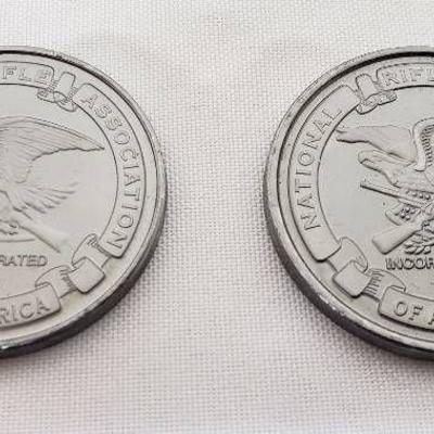 Lot of 2 NRA Medallions - 2 different rifles on re ...