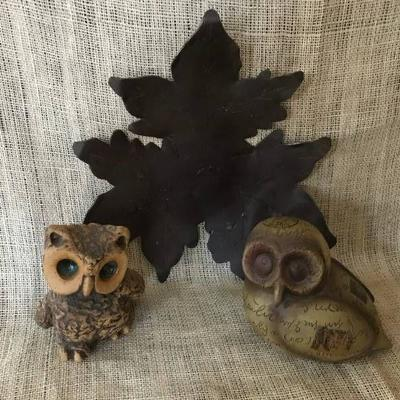 Adorable Owls and metal leaf plate