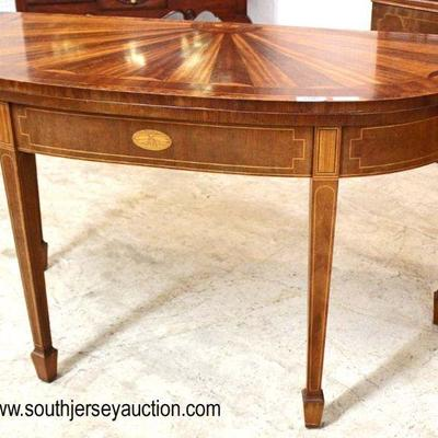 "SUPER CLEAN Mahogany Inlaid ""Baker Furniture Charleston Collection"" Oversized Flip Top Game Table with Sunburst 2 Tone Top  Auction..."
