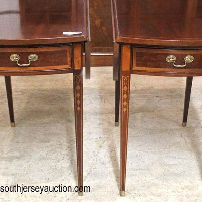 "— AWESOME —   PAIR of ""Councill Craftsmen Furniture"" SOLID Mahogany Inlaid and Banded Taper Leg Drop Side Pembroke One Drawer Tables..."