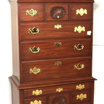 "— P A I R — BEAUTIFUL VERY CLEAN CONDITION ""Henkel Harris Furniture"" SOLID Mahogany  3 Part Queen Anne Full Bonnet Top High Boy Chest..."
