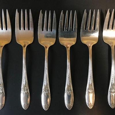 •Vintage Amston Sterling Silver Colonial Rose, Circa 1948 •36 pieces sterling silver flatware 6 piece place settings for 6, includes: •...