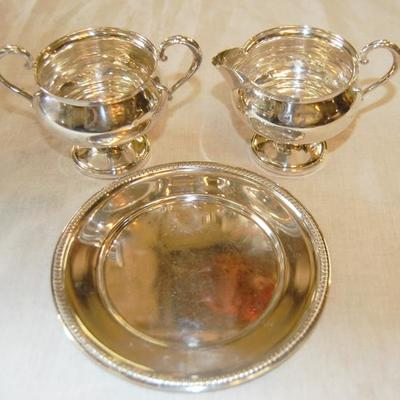 Sterling Silver Sugar creamer and plate