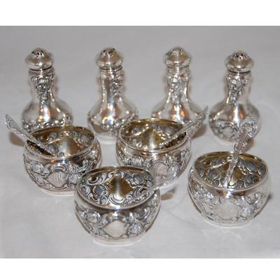 Set of 12 pc.Sterling Silver Salt Cellars with Salt Spoons and Pepper Shakers