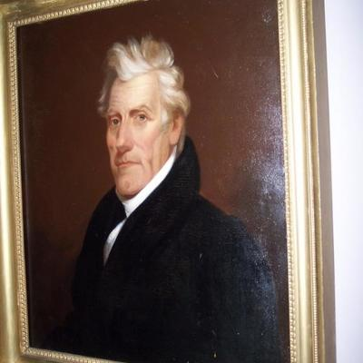 PERIOD OIL ON CANVAS  PORTRAIT OF A PRESIDENT ANDREW JACKSON