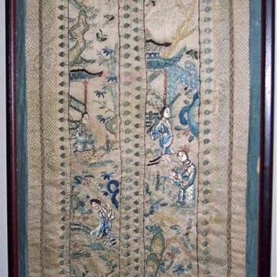 LARGE LATE 18TH CENTURY 0R EARLIER CHINESE SILK EMBROIDERY PANELS