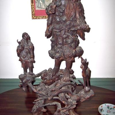 IMPORTANT LARGE 18TH CENTURY CHINESE ROOT  CARVING