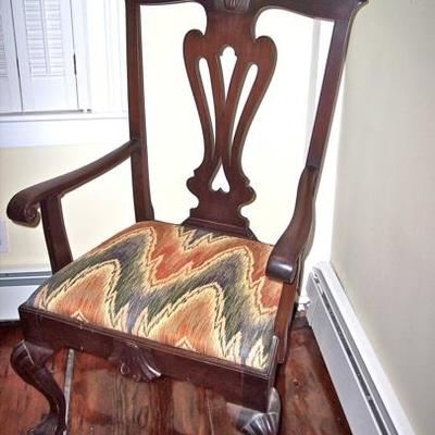 PERIOD AMERICAN CLAW FOOT  CHIPPENDALE CHAIR