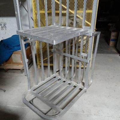 Aluminum 2 shelf stocking cart on wheels