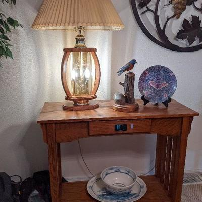 LB-106a Oak Mission-style side table $145  LAMP IS SOLD pending pickup LB-106b Lamp - $30