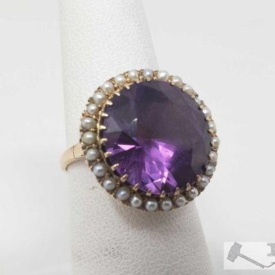 10k Gold Alexandrite Ring, 6.1 This 10k Gold Alexandrite ring weighs approximately 6.1g and is approximately size 7.5 Metal Type: Yellow...