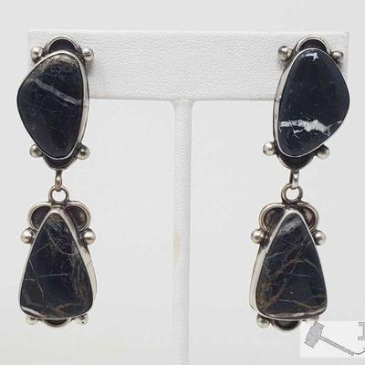 Eleanor Largo Black Lightning White Buffalo Post Dangle Sterling Silver Earrings, 21.9g Sterling Silver | Genuine White Buffalo | Eleanor...