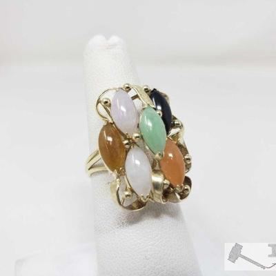14k Gold Rainbow Jade Ring,6.2 This Beautiful 14k Gold Rainbow Jade Ring weighs approximately 6.2g and the size is approximately 6.5....