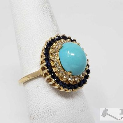 14K Gold Turquoise Diamond Sapphire Ring, 5.13 This Beautiful ring is a Turquoise Diamond Sapphire Ring that weighs approx. 5.13g and the...